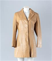 Sale 8782A - Lot 180 - A Calenzano tan leather mid length coat, size 10