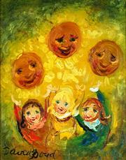 Sale 8870A - Lot 548 - David Boyd (1924 - 2011) - Sunflower Children I 36.5 x 29cm