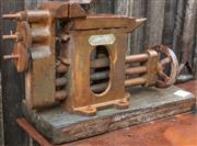 Sale 8984W - Lot 587 - A bench top vice and anvil combo. On a timber stand. Total width 55cm.