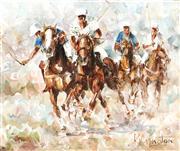 Sale 9021 - Lot 550 - Patrick Kilvington (1922 - 1990) - Third Chukka, 1986 24.5 x 29.5 cm (frame: 48 x 53 x 4 cm)