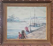 Sale 9053 - Lot 2005 - K Kirkam, Harbour Scene, oil on board, 52 x 60 cm (frame), signed lower right