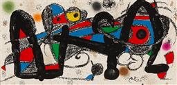 Sale 9161 - Lot 536 - JOAN MIRO (1893 - 1983) (Suite of Seven) Iran, Portugal, Italy, Japan, Sweden, Denmark, & Great Britain 1974 lithographs 19 x 39 cm ...