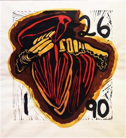 Sale 9152 - Lot 2035 - Sally Le Strange  Bannana Flower handcoloured woodblock frame: 80 x 72 cm, signed -