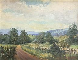 Sale 9245J - Lot 67 - Maurice Dallimore - A Winding Country Road Signed and Dated 75