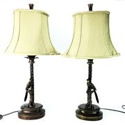 Sale 8292 - Lot 14 - Bronze Pair of Parrot Bedside Lamps