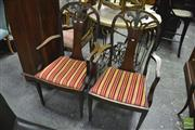 Sale 8371 - Lot 1057 - Pair of Mahogany Armchairs, in a melange of Georgian styles, with pierced splats, Prince-of-Wales & husk motifs, having drop-in seats