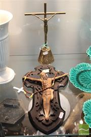Sale 8365 - Lot 66 - Brass Crucifix With Another Gilt Example
