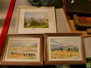 Sale 8582 - Lot 2092 - 3 Works: V. McMahon Mountain & Lake Scenes, & Artist Unknown, Valley Scene, Watercolour