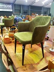 Sale 8648 - Lot 1016 - Pair of Carter Tub Chairs with Olive Green Velvet by Globewest