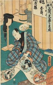 Sale 8777A - Lot 5011 - Toyokuni Utagawa III (1786 - 1865) - 36 x 24cm (frame: 53 x 42cm)