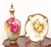 Sale 8804A - Lot 133 - Hadley's Worcester floral comport and a Royal Worcester lidded vase, both restored, tallest 33cm