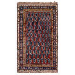 Sale 9124C - Lot 30 - Antique Caucasian Kazak Rug, Boteh Design, Circa 1930, 130x235cm, Handspun Wool
