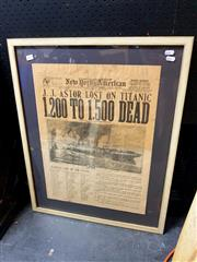 Sale 8686 - Lot 2074 - New York American framed posthumous newspaper, 74 x 58cm (frame size)