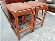Sale 8782 - Lot 1085 - Pair of Suede Top Chiswell Stools