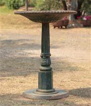 Sale 8871H - Lot 12 - An antique cast iron bird bath with green painted finish, height 90, diameter 65cm