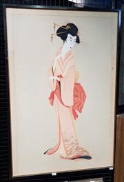 Sale 9082 - Lot 2062 - Marion Perich Geisha no. 2 gouache on silk (AF) 96 x 65cm, signed