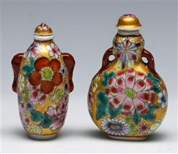Sale 9153 - Lot 63 - A Duo of Chinese porcelain Thousand Flower snuff bottles, (H:7.5cm)