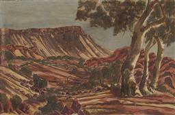 Sale 9161 - Lot 583 - OTTO PAREROULTJA (1914 - 1993) Central Australian Landscape watercolour 34.5 x 53.5 cm (frame: 48 x 68 x 4 cm) signed lower centre