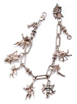 Sale 9169 - Lot 353 - A SILVER FAIRIES AND CHERUB BRACELET; fancy links attached with 9 cherub and fairy charms to parrot clasp (spring not working), leng...
