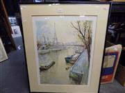 Sale 8419T - Lot 2095 - Delazue, Parisian Scene, print, frame size: 68 x 56.5cm, unsigned