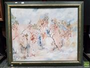 Sale 8478 - Lot 2012 - H.Wood Trees in a Street Oil Painting signed, dated 82 LL