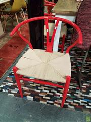 Sale 8554 - Lot 1059 - Set of 6 Red Metal Wishbone Chairs