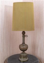 Sale 8650A - Lot 99 - A brass and glass table lamp with compressed fabric shade, total Height 88cm.