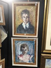 Sale 8824 - Lot 2045 - Louise Cornwell (2 works) - The Buxton Children, Bellevue Hill frame size: 68 x 53 and 64 x 56cm