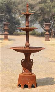 Sale 8871H - Lot 6 - A tall cast iron graduated three tiered fountain with swan decoration to base, height 240cm