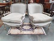 Sale 8939 - Lot 1013 - Pair of Large French Style Armchairs, painted grey and with upholstery to suite, raised on cabriole legs. H of back: 88cm