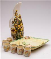 Sale 9052 - Lot 389 - Floral themed signed jug (H31.5cm) together with Crown Devon Dish and others incl. Royal Doulton egg coddlers