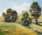 Sale 9058 - Lot 2026 - John Downton (1939 - ) - Cattle Grazing, Nethercote Valley 24 x 29.5 cm (frame: 34 x 40 x 4 cm)