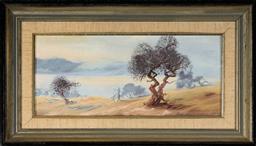 Sale 9111 - Lot 2037 - Alan Grosvenor (1925 - 2012) - Haze across Lake Jindabyne, Snowy Mountains, 1976 16.5 x 36.5 cm (frame: 29 x 50 x 3 cm)