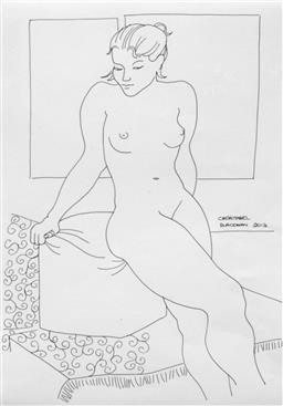 Sale 9249A - Lot 5058 - CHRISTABEL BLACKMAN (1959 - ) Miriam ink on paper 47 x 34 cm (frame: 71 x 56 cm) signed center right