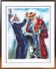 Sale 8630A - Lot 76 - Izik - Holding the Torah 141/200 image size 50 x 40cm