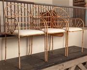 Sale 8871H - Lot 129 - A set of three metal faux bamboo occasional chairs with pad seats. Height approx 95cm