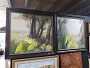 Sale 8978 - Lot 2077 - Artist Unknown Kakadu Gardens (diptych) oil on linen,  91 x 98cm, each (frames), unsigned