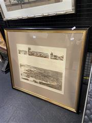 Sale 8995 - Lot 2030 - Framed John Sands Birds Eye View of Sydney 1888
