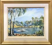 Sale 9072 - Lot 2024 - Nan Rogers - Billabong & Landscape 44.5 x 59.5 cm (frame: 70 x 84 x 3 cm)