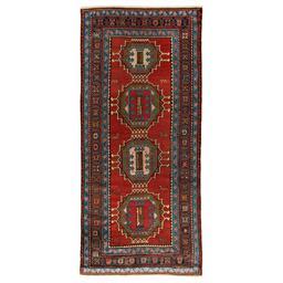 Sale 9124C - Lot 33 - Antique Caucasian Karabagh Rug, 125x280cm, Handspun Wool