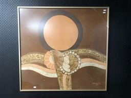 Sale 9147 - Lot 2031 - Artist Unknown (Suwarto) Sunrise, 1976 batik (A.F - broken Glass, water damage) frame: 82 x 91 cm