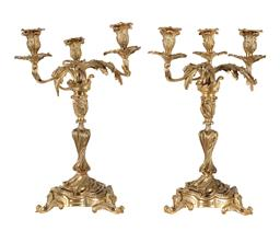 Sale 9245J - Lot 77 - A pair of French 19th century three branch ormolu candelabra with leaf decoration, H 46cm x W 31cm.