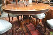 Sale 8317 - Lot 1015 - Victorian Mahogany Circular Supper Table with radial veneer & turned pedestal