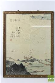 Sale 8496 - Lot 51 - Chinese Framed Painting of A River and Landscape Signed ( 64 x 41)