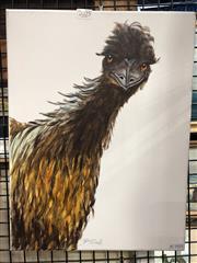 Sale 8797 - Lot 2025 - B. Girot - Emu acrylic on canvas , 40 x 30cm, signed -