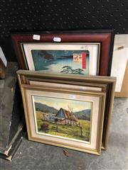 Sale 8861 - Lot 2081 - 3 Works: 2 Ronald Peters Landscapes, Oils & Japanese Print of a Woodblock