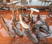 Sale 8984W - Lot 592 - A collection of iron cobblers lasts including an interesting raised example. Height of tallest 35cm