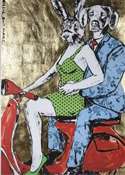Sale 9072A - Lot 5019 - Gillie and Marc - The Immaculate Vespa Riders 117 x 83 cm (frame: 136 x 101 cm)
