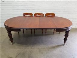 Sale 9126 - Lot 1017 - ADDENDUM Victorian STYLE Mahogany Extension Dining Table, with two leaves,  having D shaped ends & raised on turned reeded legs -...