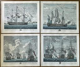 Sale 9142A - Lot 5074 - Martime Engravings (4): hand-coloured engravings, 56 x 66.5 cm each -